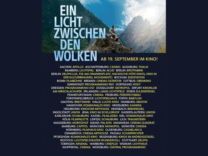 A SHELTER AMONG THE CLOUDS AFTER PARTECIPATING IN FÜNF SEEN FILM FESTIVAL,  FROM 19TH OF SEPTEMBER IN MORE THAN 80 THEATRES ALL OVER GERMANY